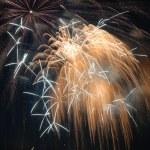 Galaxylike Golden Fireworks At Night — Stock Photo