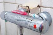 Shower Knob With Thootbrush & Soap — Stock Photo
