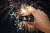 Mobile Phone With Hand Capturing Firework — Zdjęcie stockowe
