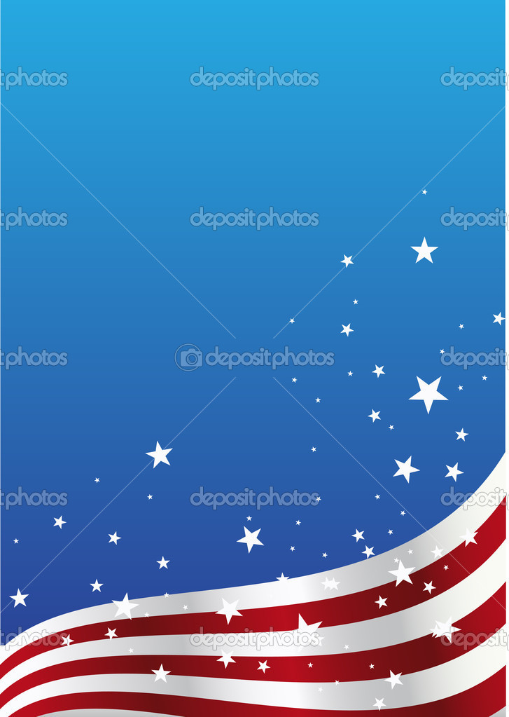 American flag and starson blue background — Stock Vector #6446768