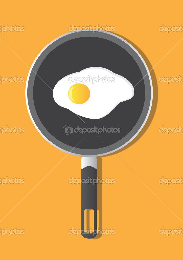 Frying pan with egg on orange background — Stock Vector #6687561