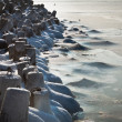 Freezing pier made from concrete at seaside — Stock Photo