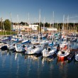 Harbour with boats in the lake at summer — Stock Photo