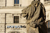 A lion guarding Hofburg, Vienna — Stock Photo