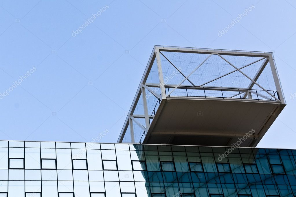 A modern terrace on a new office building with a decent overhang — Stock Photo #6603771