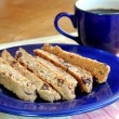 Homemade biscotti with coffee — Stock Photo