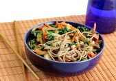 Soba noodles with vegetables — Stock Photo