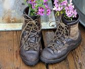 Repurposing old boots — Stock Photo
