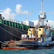 Fuel Barge and Tug — Stock Photo
