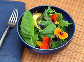 Healthy organic green salad with edible flowers — Stock Photo