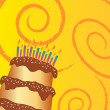 Happy birthday chocolate cake greeting card — Stock Photo #6435897