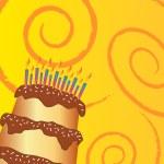 Happy birthday chocolate cake greeting card — Stock Photo