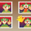Stock Vector: Four clowns
