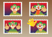 Four clowns — Stock Vector
