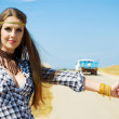 Girl travelling hitchhiking — Stock Photo #6437139