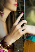 Hand on a guitar — Stock Photo