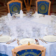 Table setting at a luxury wedding reception — Stock Photo