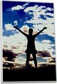 Sagoma della ragazza sul cielo colorato di sfondo — Foto Stock