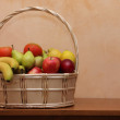 Stock Photo: Basket with fruit and vegetable