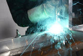 Welder with sparks — Stock Photo