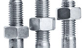 Nuts on screws — Stock Photo