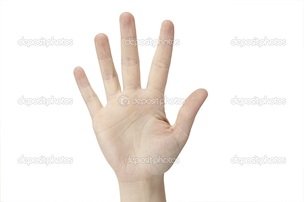 A female hand is counting five  on a white background — Stock Photo #6582094