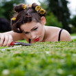 Pedantic housewife gardening. - Stock Photo