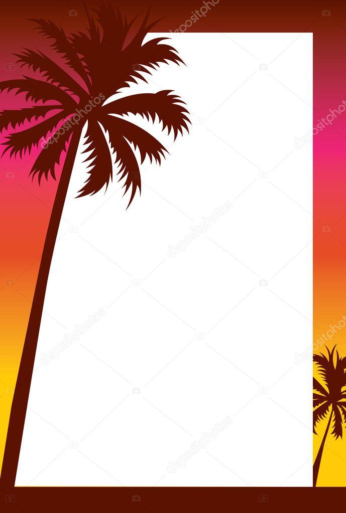 Beach Sunset Invitation/Border — Stock Photo ...