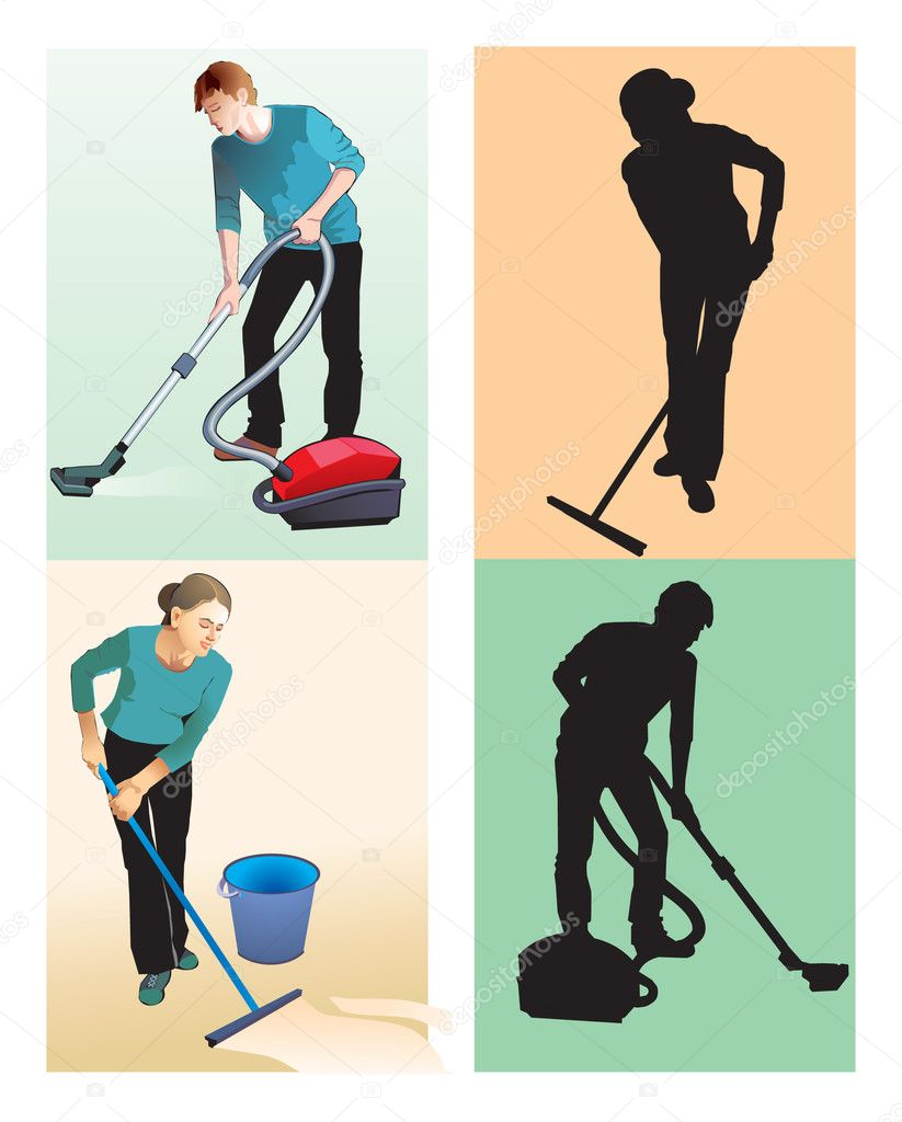 Cleaners, professionals. Respect the work of cleaners! — Stock Photo #6511697