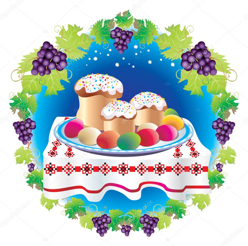 Easter table laid with sweet cake,pasha, eggs, grapevine - against the star sky — Stock Photo #6520330