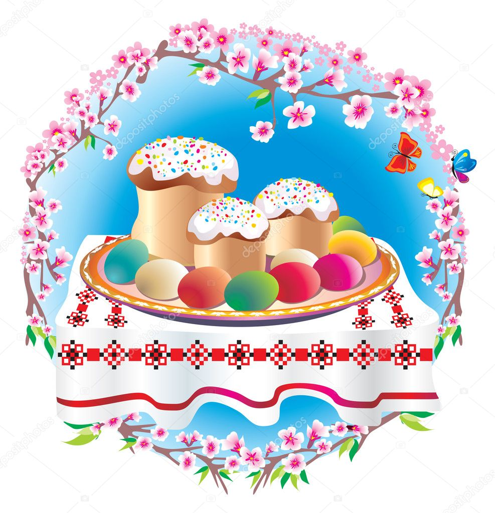 Easter table laid with sweet cake,pasha, eggs, spring flowers, butterfly - against the sky — Stock fotografie #6520349