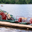 Pedal boat on lake — Stock Photo