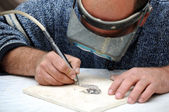 Engraver in stone table — Stock Photo