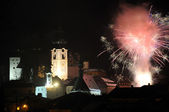 Silvester fireworks in Banska Stiavnica — Stock Photo
