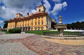 Schloss Esterhazy in the foreground with a stone fountain and forging — Stock Photo