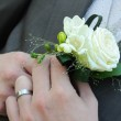 Groom in a wedding dress holding a white rose — Stock Photo #6596142