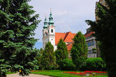 Iglesia dominicana en szechenyi square en la ciudad de sopron — Foto de Stock