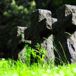 Three stone crosses in the cemetery - Stock Photo