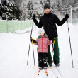 Young father and daughter do Nordic skiing — Stock Photo #6483905