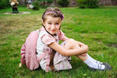 Young girl with pink backpack ready for school — Stock Photo