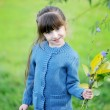 Adorable child girl poses outdoors in blue sweater — Stock Photo