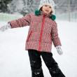 Winter portrait of adorable smiling child girl — Stock Photo