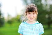 Retrato al aire libre de lindo niño niña en chaqueta azul — Foto de Stock
