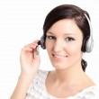 Beautiful support technician women with a headset — Stock Photo