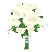 Bridal bouquet of white roses — Stock Vector