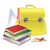Schoolbag with school supplies — Stock Vector