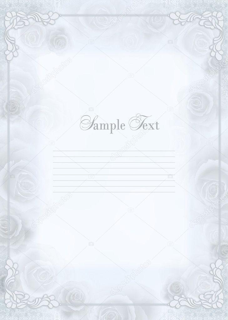 Cute wedding invitation card with flowers ornament frame