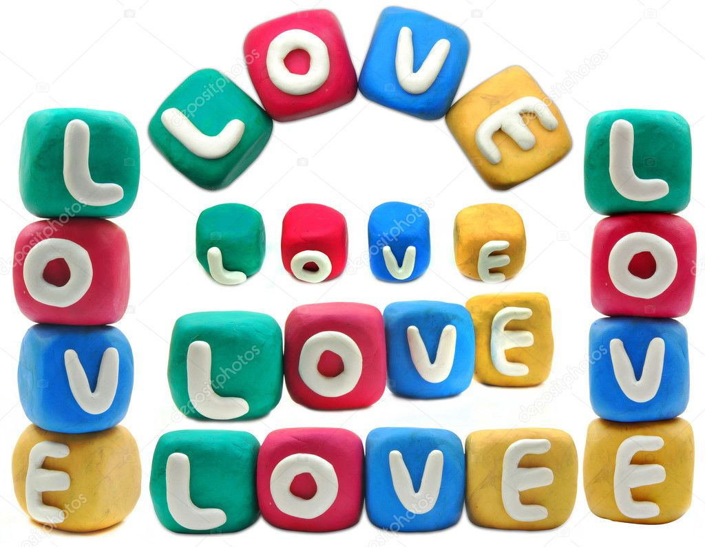 Plasticine letter on a white background LOVE  — Stock Photo #6590255