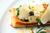Tarte fine aux or tart vin food with cheese — Stock Photo