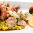 Seafood paella portion - Stock Photo